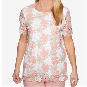 NWT La Dolce Vita Floral Lace Crocheted Lined Top